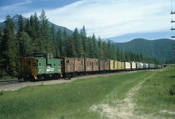 Burlington Northern caboose on train 84 entering Essex, Montana