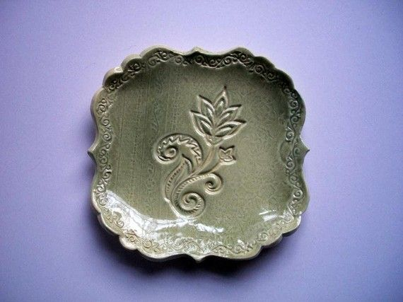 Lime Green Victorian Flower Spoon Rest by CatsPawPottery on Etsy, $12.00