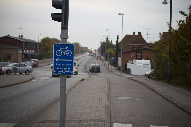 Standard cycle track in Copenhagen. Sign indicating that you turn left here for the airport.   I will fully admit the irony of my epiphany...