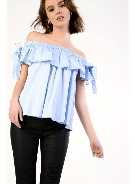 Light Blue Bardot Top With Tie Detail