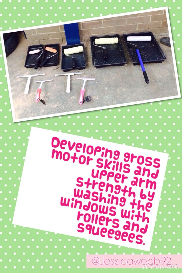 Developing gross motor skills and upper arm strength by washing the windows with rollers and squeegees.