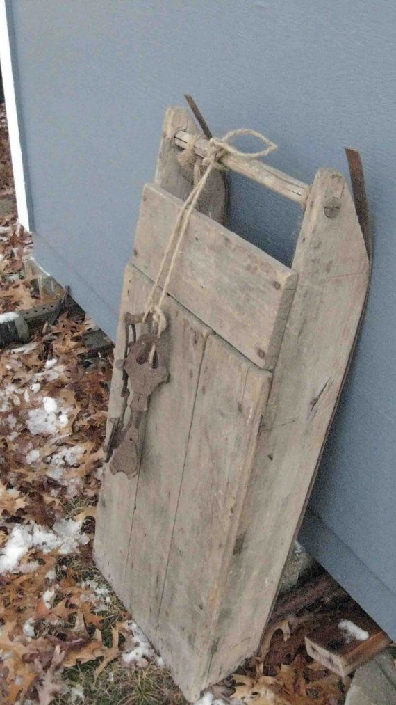 Vintage Handmade Snow Sled with Ice Skates by vintageatmosphere, $129.00