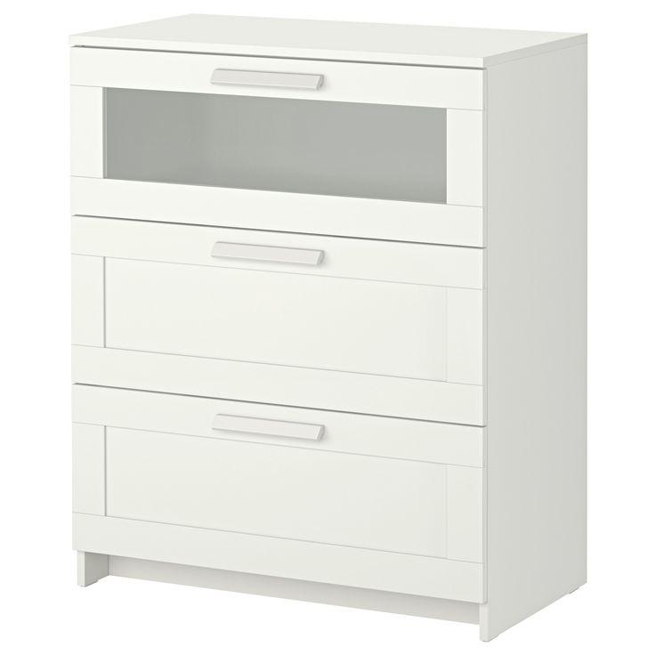 IKEA - BRIMNES, Kommode mit 3 Schubladen, weiß/Frostglas, , Leichtgängige Schubladen mit Ausziehsperre.