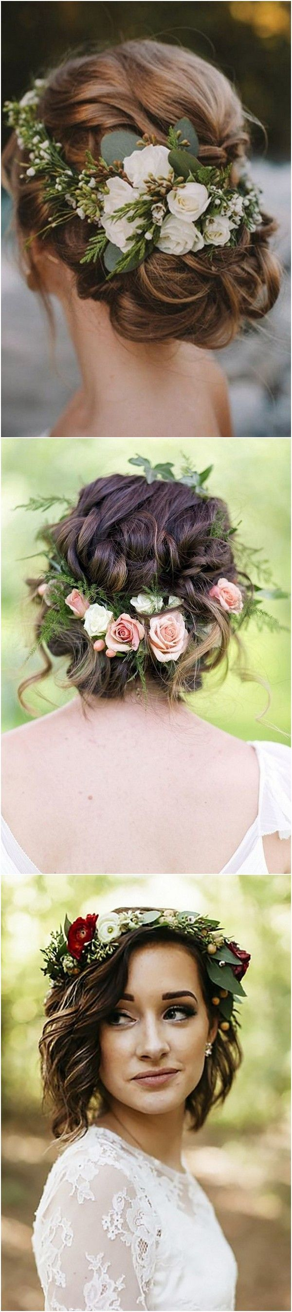 Wedding hairstyle ideas with flower crown #wedding #weddinghairstyles #weddingideas