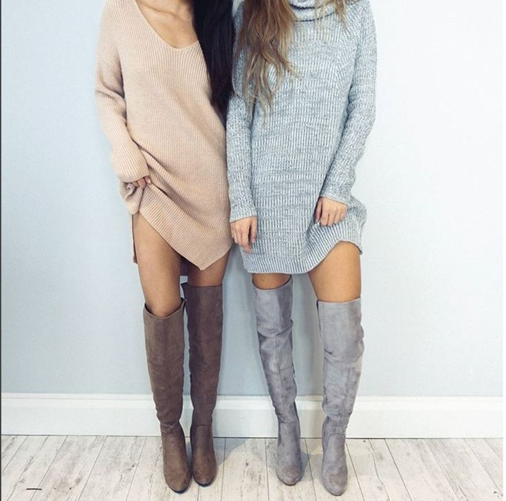 knit sweater dress and over the knee. going to be my go to look for fall and winter 2016