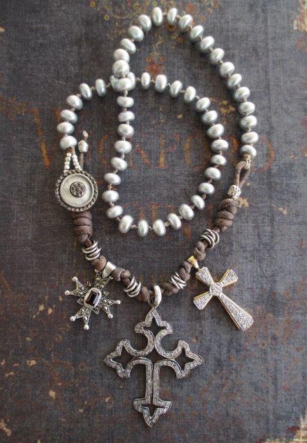 Diamond Cross freshwater pearl necklace - Boho Treasury 'Cross Trio' - Diamonds garnet vintage gold sterling silver OOAK by slashKnots
