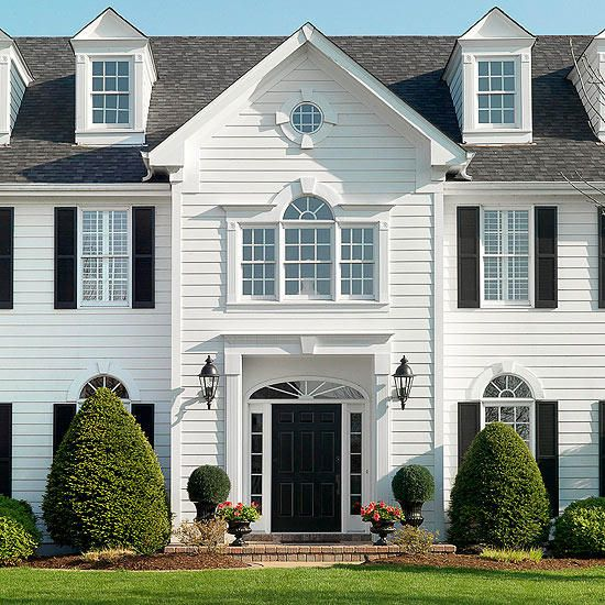 Fresh Traditional Front Doors With Images House Siding Options House Exterior Colonial Style Homes