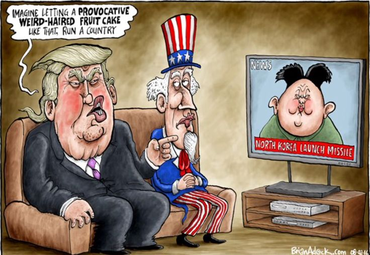 Image result for trump and north korea cartoons