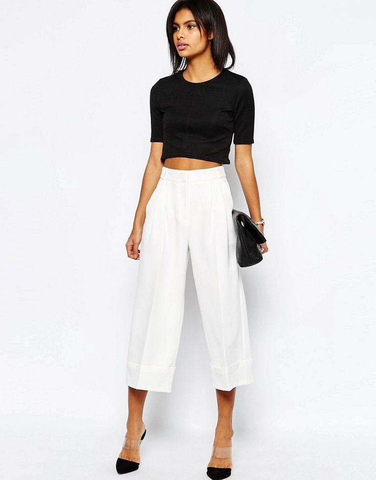 Budget Work Wear: high waist culottes with deep turn up perfect summer work pants for under $70