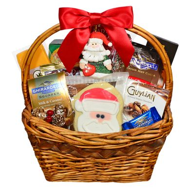 Send them this cheerful Christmas gift basket and they will believe in Santa again! Snacks and sweets to bring a smile to anyone's face!