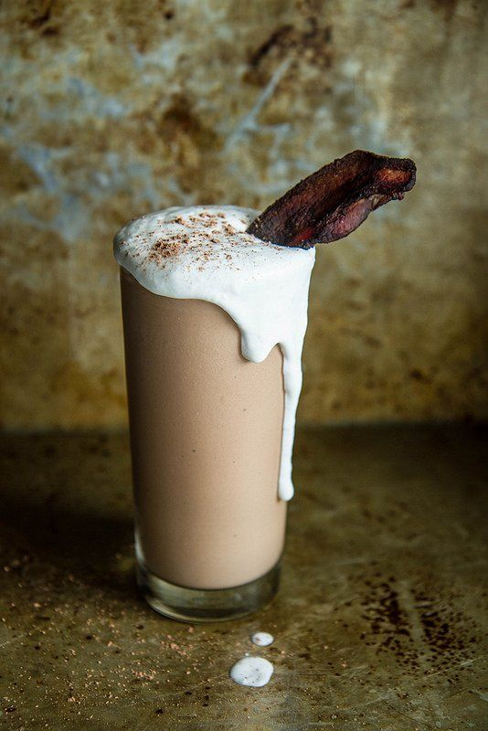 Get the recipe: chocolate, peanut butter, bourbon, and bacon milkshake                  Image Source: Heath...
