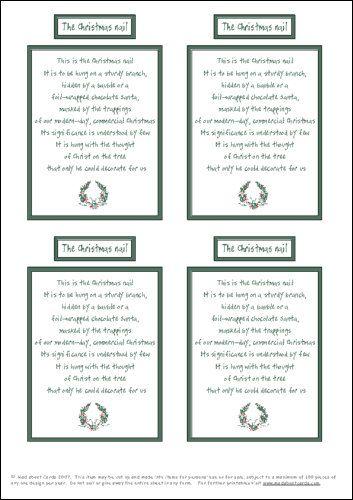 Christmas Nail Poem Print Prayer Reminder Ideas
