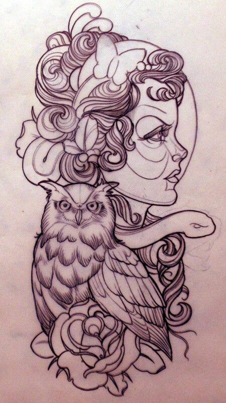 gypsy and owl outline for Tattoo
