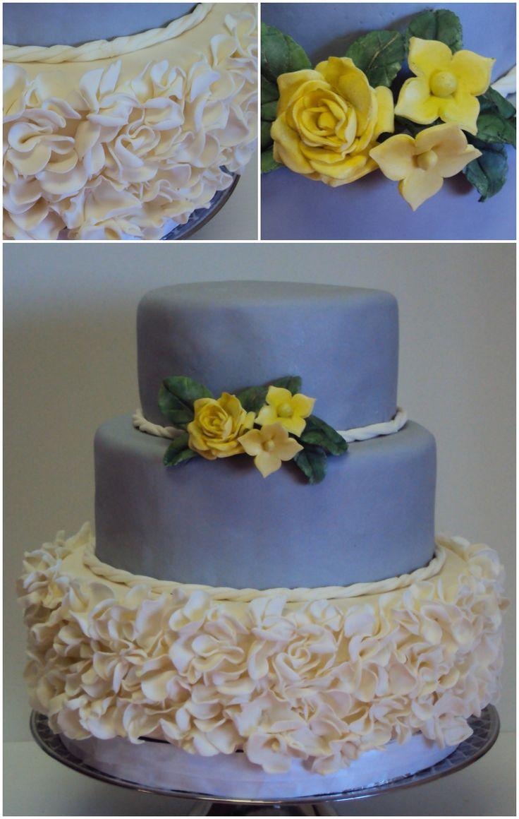 Three Tiered grey u0026 white wedding cake