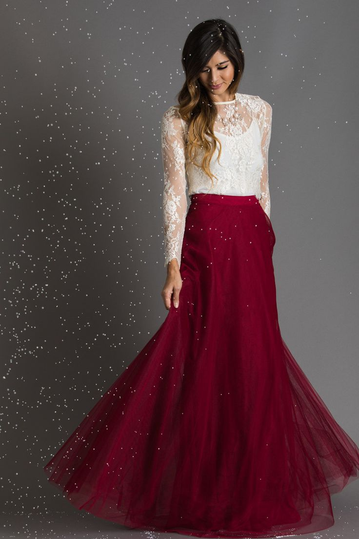 Layers and layers of tulle make this burgundy tulle maxi skirt full of flow and amazing shape! We love this bold and feminine look that will wow the crowd at your next special occasion! Pair this skir