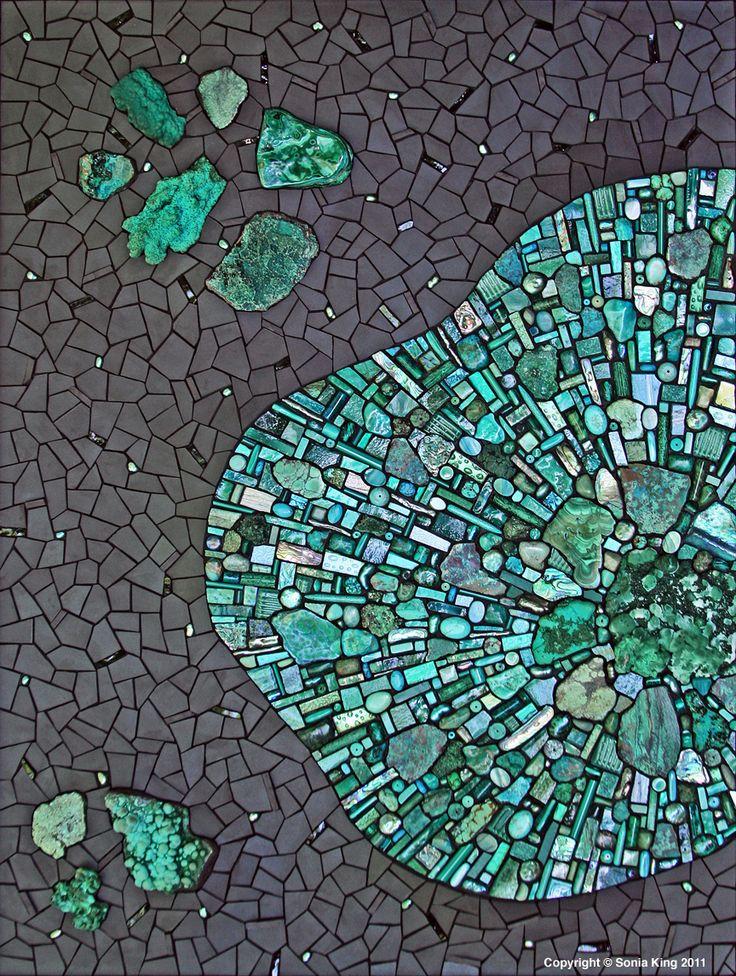 Chrysocolla, malachite, amazonite, jasper, atacamite, pearls, ceramic, glass, turquoise, magnesite, smalti, paua shell, beach glass, pebbles, abalone, crystals, gold, labradorite, marble