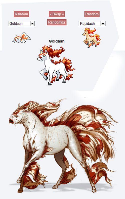 pokemon fusion fan art goldash