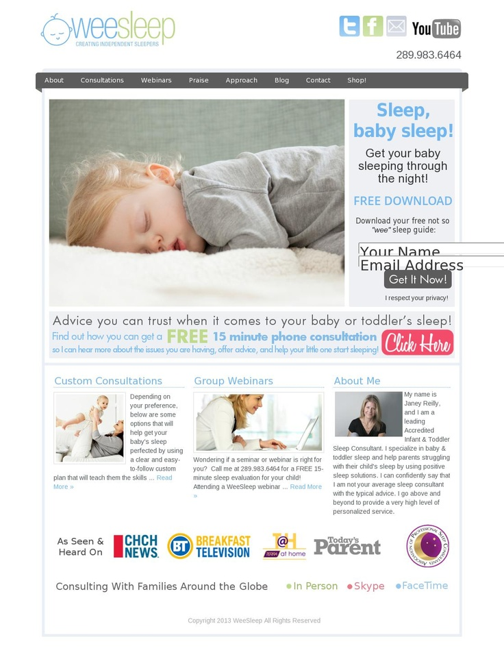 Helping families worldwide deal with baby's sleep issues!  Experiencing sleepless nights?? Contact our friend Janey, the sleep expert!  www.weesleep.ca