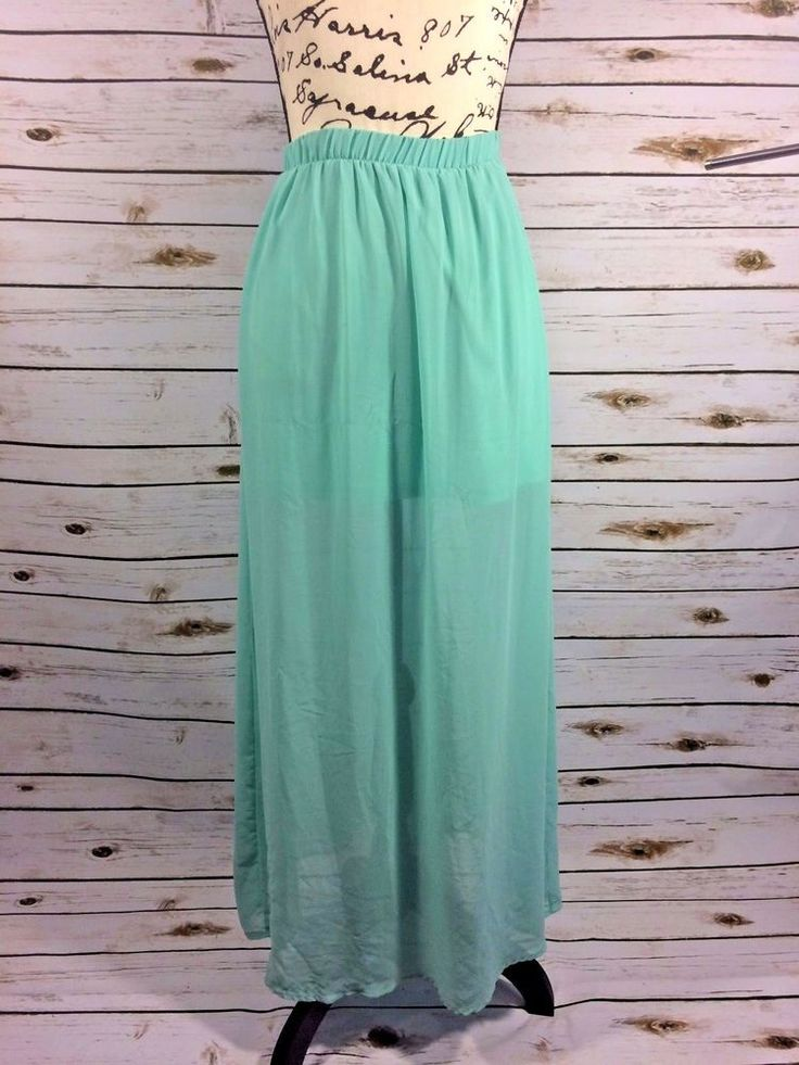 Forever 21 XXI Womens Turquoise Maxi Skirt Semi Sheer Size Small #FOREVER21 #Maxi #Casual