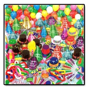 "Super Bonanza Assortment for 100 People. Assortment includes 1 bartender hi-hat, 1 plumed waitress tiara, 45 full sized foil hats, 5 plastic N.Y. toppers, 5 plastic N.Y. derbies, 45 gltrd foil tiaras with fringe, 50 deluxe noisemakers, 25 blowouts, 25 9"" foil horns, 50 soft twisted poly leis, 50 assorted balloons, 200 FP serpentine throws & 1 5' metallic H.N.Y. banner, complete in a corrugated shipper."