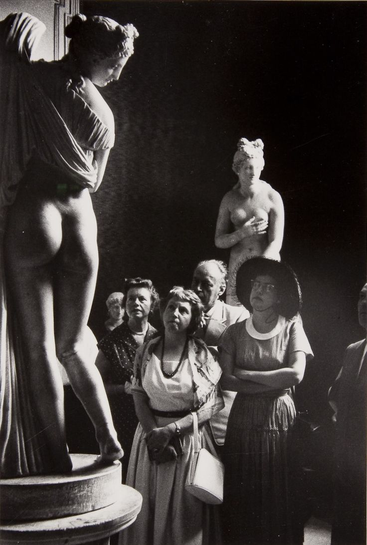 Italian Vintage Photographs ~ #Italy #Italian #vintage #photographs ~ David Seymour - Visitors observing a statue at the National Archaeological Museum, Naples, Italy, 1952