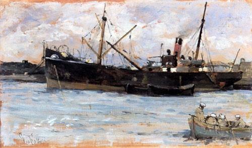 GIOVANNI FATTORI Nel porto, (1890-1895)  Olio su tela, cm 19 X 32
