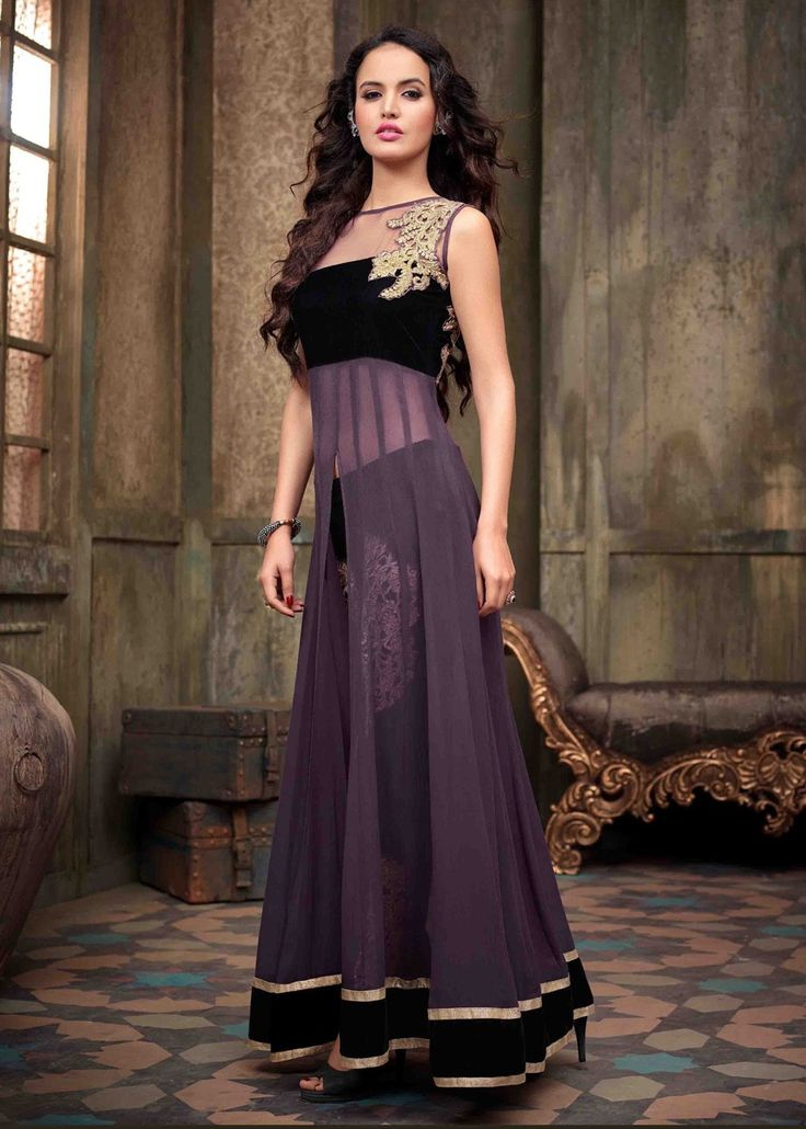 MAISHA PURPLE WITH BLACK GEORGETTE FRONT OPEN EMBROIDERED ANARKALI SUIT