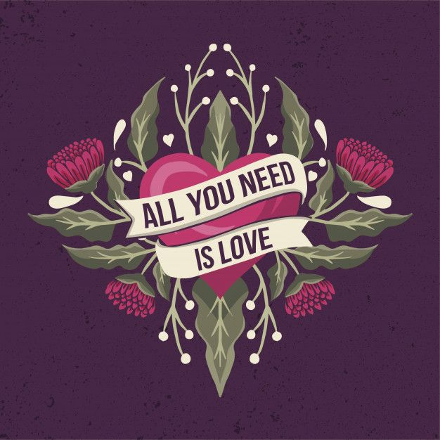 All You Need Is Love Quote On A Ribbon With Heart And Flowers In