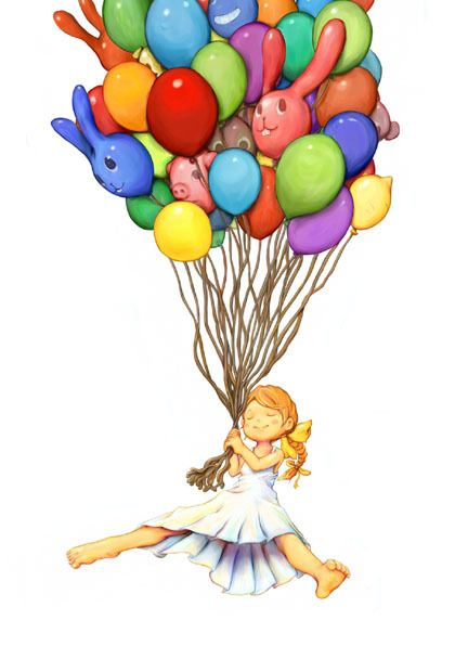 Girl with Baloons Illustration