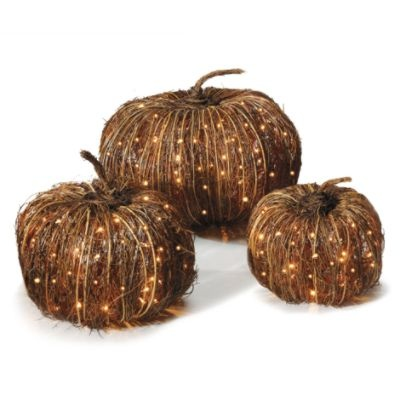 Pre-lit Grapevine Halloween Pumpkins: http://www.grandinroad.com/pre-lit-grapevine-halloween-pumpkins/157149?defattrib===0  Enchant your harvest decor with the handcrafted appeal of these Pre-lit Grapevine Halloween Pumpkins. The natural look of these outdoor Halloween and fall decorations is perfect every autumn, especially illuminated with brilliant mini-lights. (October 2012)