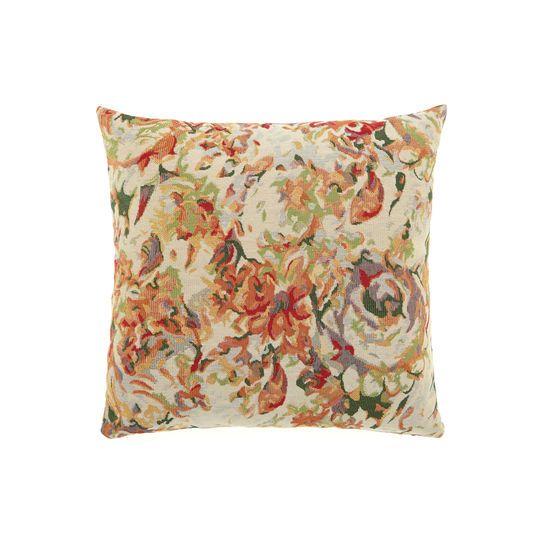 Cuscino floreale in gobelin tinta unita, con stampa a effetto acquarello. Imbottitura inclusa.