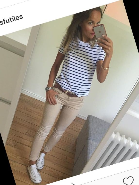 Capsule wardrobe basics – stone trousers and striped top.