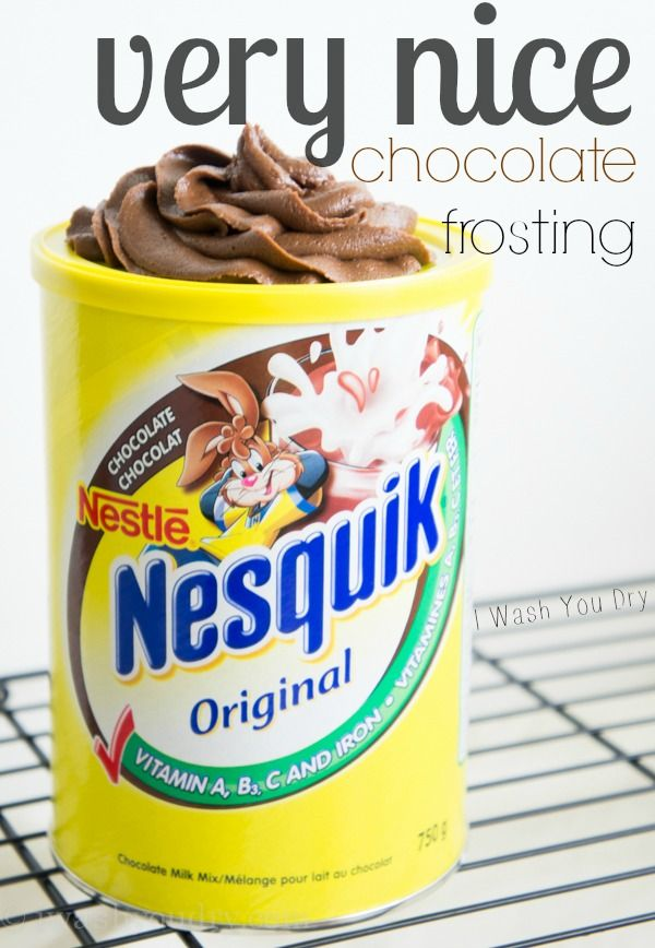 Very Nice Chocolate Frosting (with Nesquik, boiling water, butter and powdered sugar).