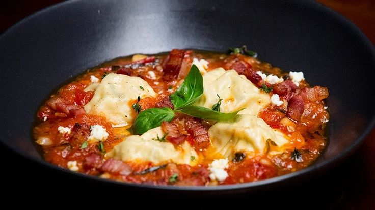 Ricotta and Pork Ravioli with Tomato Sauce