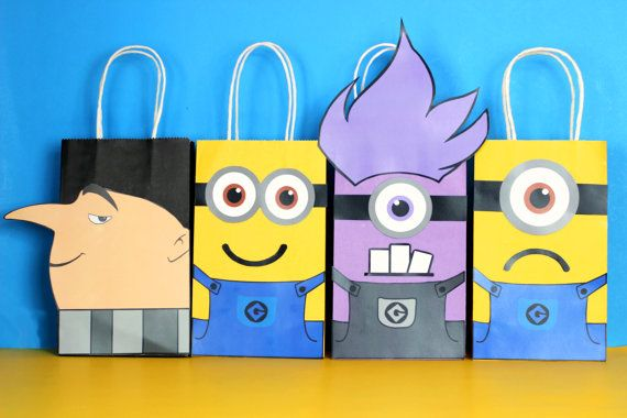 DIY Minion Party Favor Bags. Simply Download, Print, Cut and Paste. Print as many copies as you need.