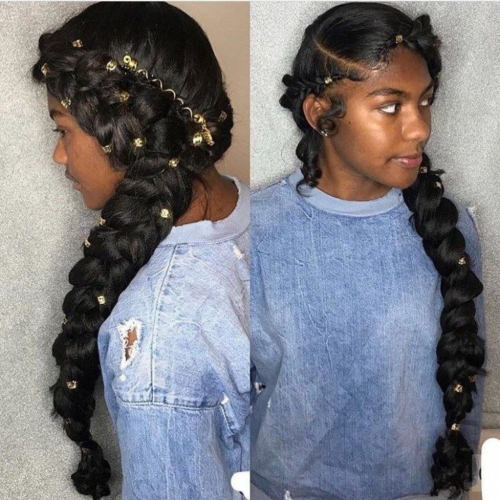 Both Side Braided Hairdo Accessorized With Golden Beads Most Stylish Prom Hairstyles For Black Girls Braided Hairdo Hair Styles Natural Hair Styles
