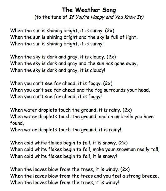 A weather song I wrote to help children with weather-specific vocabulary