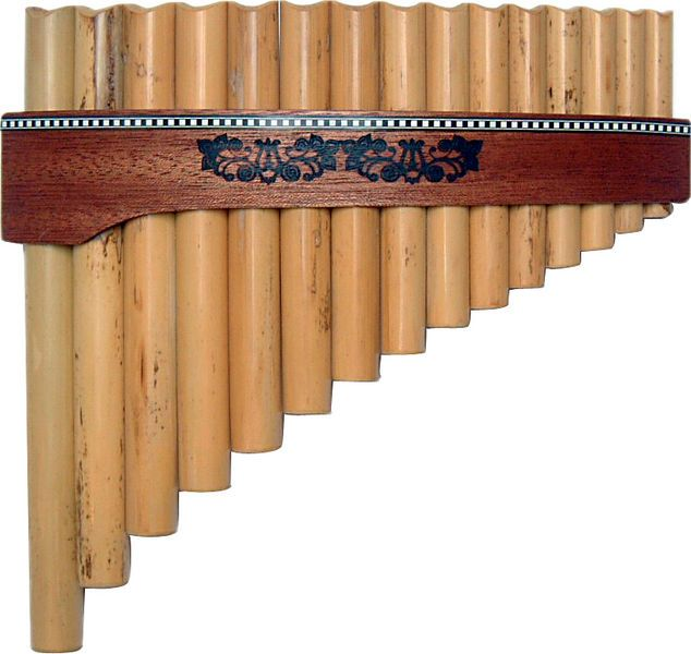 Gewa Panpipes, 15 pipes, G-major, round form, tapered wood belt, tone range g'- g'''