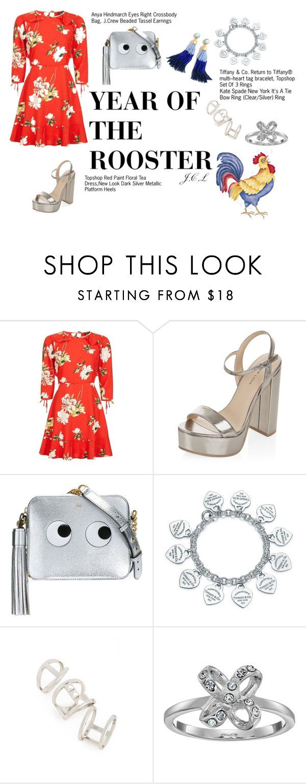 """""""Year of the rooster"""" by dame-j on Polyvore featuring Topshop, New Look, Anya Hindmarch, Tiffany & Co., Kate Spade, J.Crew, ootd and polyvoreOOTD"""