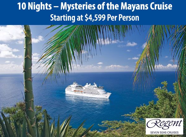Mysteries of the Mayans Cruise - 10 nights | www.travelandtransport.com | Itinerary includes: Miami, Key West, Florida; Yucatan Channel; George Town, Grand Cayman; Cozumel, Costa Maya, Mexico; Belize City, Belize; Santo Tomas De Castilla, Guatemala; Roatan, Honduras