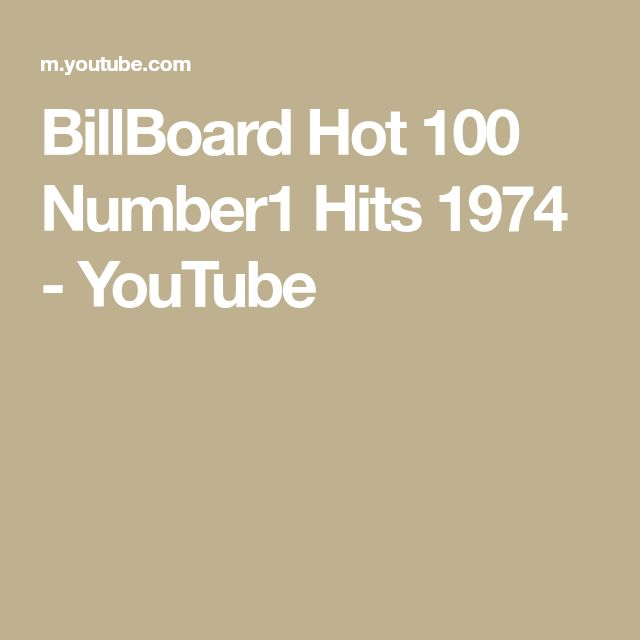BillBoard Hot 100 Number1 Hits 1974