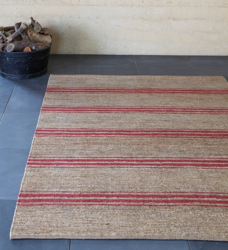 River Weave - Ticking Stripe in Natural/Crimson  | Armadillo: http://armadillo-co.com/item-category/rugs/
