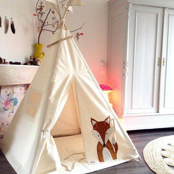 MIDI Teepee | Fox design #foxdesign #woodlandtheme #nurserydecor #playteepee #teepeetent #moozleteepee #foxillustration #kidsroom