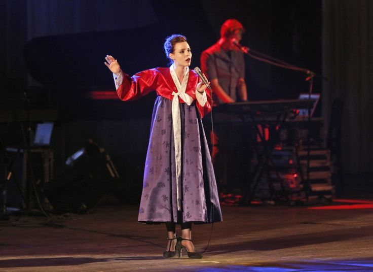 Singer … a member of Slovenian rock band Laibach wears a traditional Korean…
