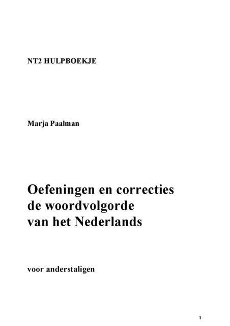 Oefeningen en correcties de woordvolgorde van het Nederlands