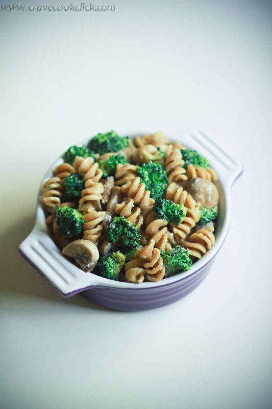 Whole Wheat Pasta with Broccoli and Mushrooms Recipe  #pasta #healthy #wholewheat #proteins #food #mushroom #broccoli