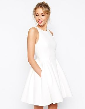 White, chic, skater dress for a wedding or other formal events