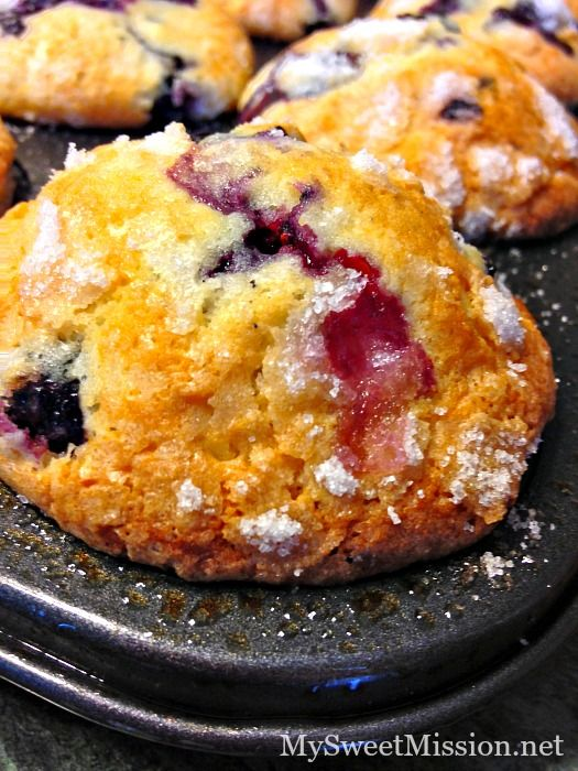 Bakery-Style-Blueberry-Muffins. Always good! Have used frozen blueberries before, as well as fresh. The tops come out crispy and the muffins are fluffy.