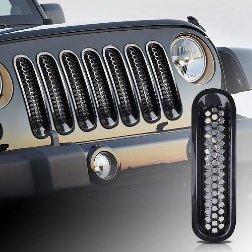 7 pcs front grille insert kit grid mesh ventilation for Jeep Wrangler Rubicon JK 2007-2016