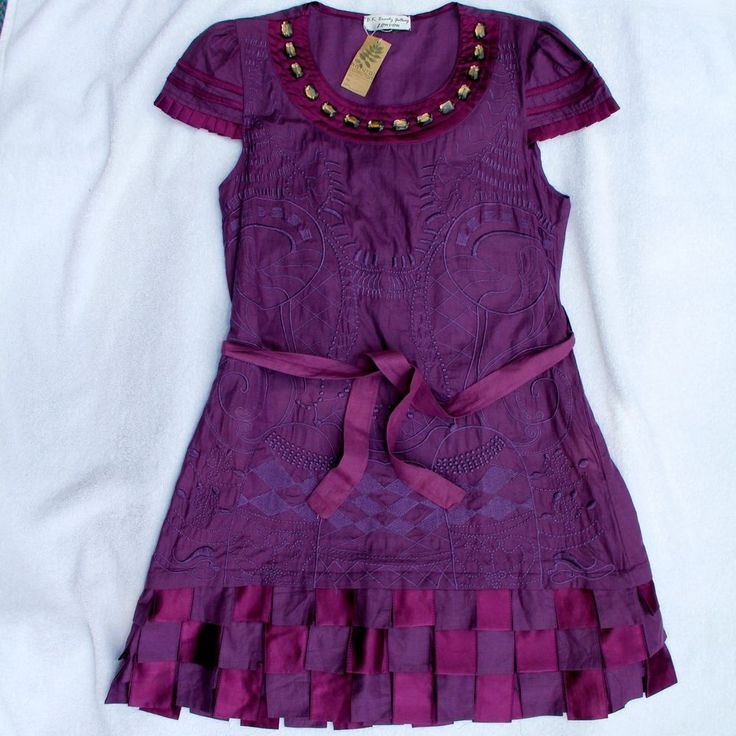 Deep Purple Pure Cotton BK Designer Dress Cap Sleeve S 8 NWT Excellent